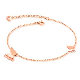 Ericdress Titanium Steel Rose Gold Butterfly Anklet for Women