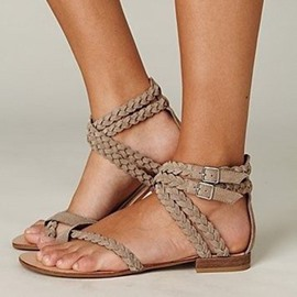 Ericdress Woven Toe Ring Flat Sandals with Buckle