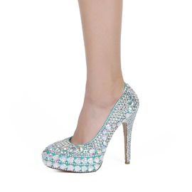 Ericdress Blue Rhinestone Platform Stiletto Heel Wedding Shoes