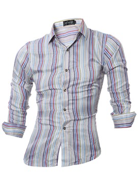 Ericdress England Style Patchwork Colorful Fine Stripe Slim Men's Shirt