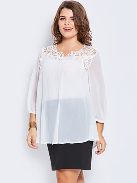 Ericdress Plus-Size Hollow Lace T-shirt