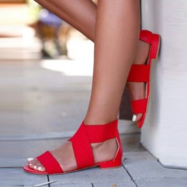Ericdress Red Open Toe Plain Flat Sandals
