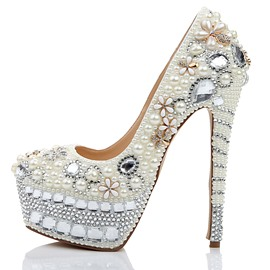 Ericdress Rhinestone Plain Platform Stiletto Heel Wedding Shoes
