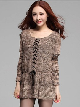 Ericdress Mid-Length Pullover Belt Knitwear