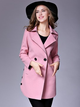 Ericdress Plain Mid-Length Double-Breasted Coat