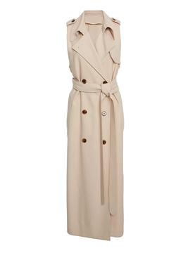 Ericdress Epaulet Double-Breasted Sleeveless Trench Coat