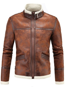 Ericdress Faux Leather Flocking Warm Men's Jacket