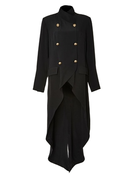 Ericdress Asymmetric Double-Breasted Pocket Trench Coat