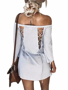 Ericdress Vertical Striped Slash Neck Lace-Up Casual Dress