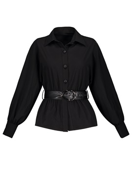 Ericdress Belt Lapel Single-Breasted Blouose