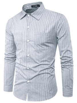 Ericdress Plain Stripe Pocket Slim Men's Shirt