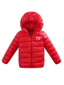 Ericdress Plain Zipper Hooded Light Down Jacket