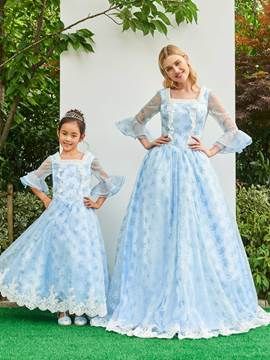 Ericdress 3/4 Sleeve Ruffles Lace Parent-Child Evening Dress