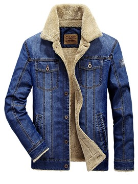 Ericdress verdicken warmen Denim Revers Herren Wintermantel