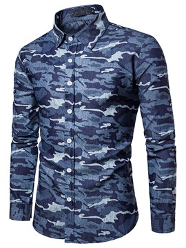 Ericdress Camouflage Long Sleeve Casual Slim Men's Shirt