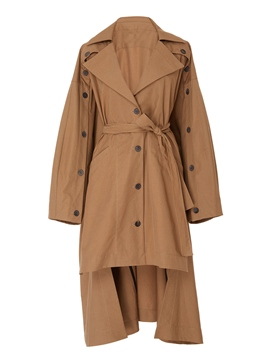 Ericdress Long Lace-Up Button Trench Coat