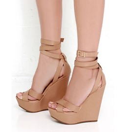 Ericdress Peep Toe Platform Plain Wedge Sandals with Buckle
