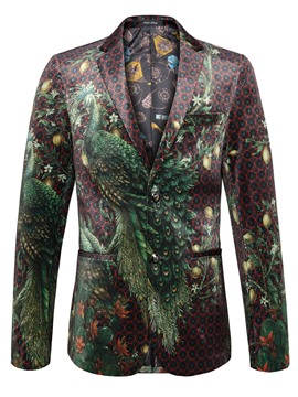 Ericdress 3D Peacock Print Classic Vogue Men's Blazer