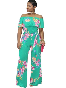 Ericdress Loose Floral Ruffles Slash Neck Women's Jumpsuit