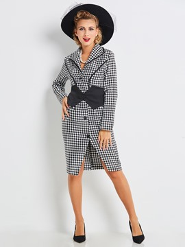 Ericdress slim mediados de longitud houndstooth trench coat