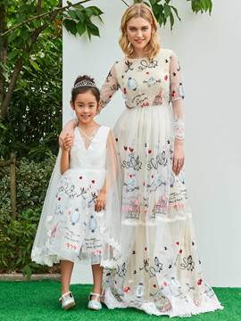 Ericdress A Line Long Sleeve Embroidery Parent-Child Evening Dress