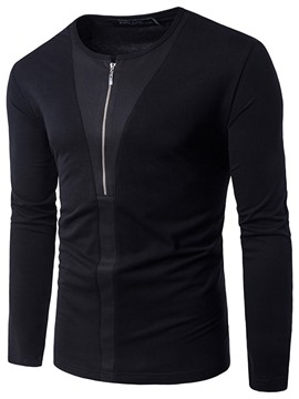 Ericdress Plain Zip Patched Unique Casual Men's T-Shirt