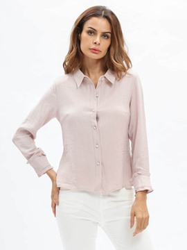 Ericdress Lapel Plain Single-Breasted Blouse