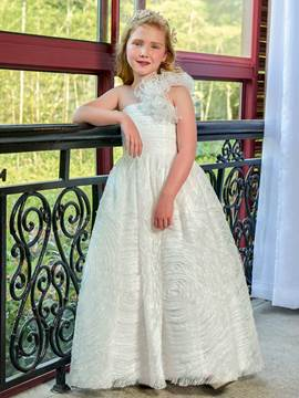 Ericdress One Shoulder Ball Gown Lace Flower Girl Dress