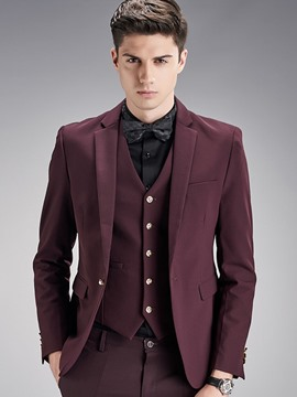 Ericdress Plain Three-Piece of Vogue Slim Men's Suit