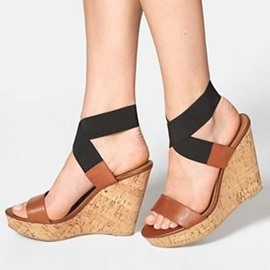 Ericdress Elastic Band Color Block Wedge Sandals