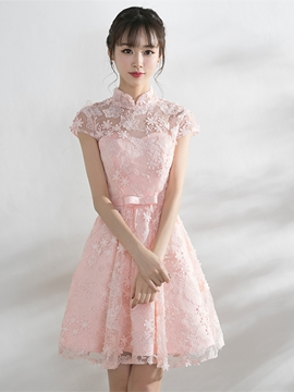 Ericdress A Line Cap Sleeve Flower Applique Knee Length Homecoming Dress