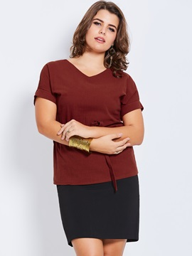 Ericdress V-Neck Plain Lace-Up Plus Size Blouse