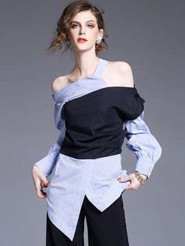 Ericdress Asymmetric Hollow Patchwork Blouse