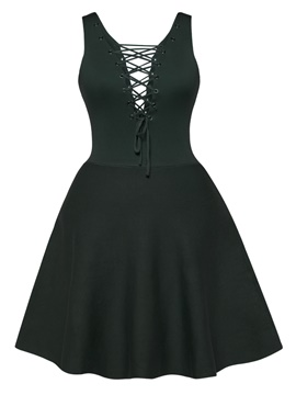 Ericdress V-Neck Lace-Up Sleeveless A-Line Dress