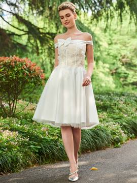 Ericdress Off The Shoulder Appliques Ball Gown Knee Length Wedding Dress