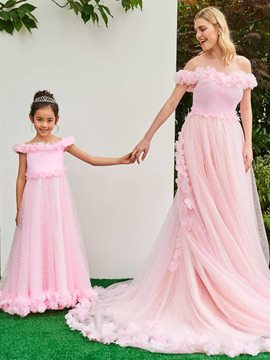 Ericdress Off The Shoulder Flower Tulle Pink Wedding Dress
