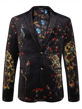 Ericdress Polka Dots 3D Peacock Print Vogue Classic Men's Blazer