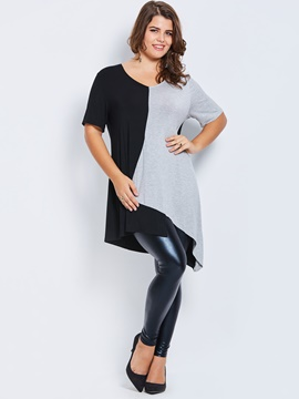 Ericdress V-Neck Asymmetric Patchwork T-shirt