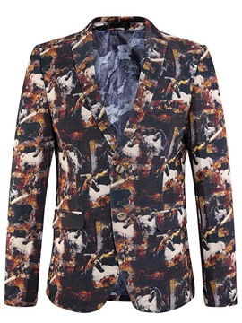Ericdress Single-Breasted Quality Lapel Print Men's Blazer