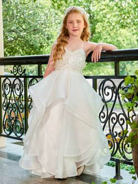 Ericdress Spaghetti Straps Ball Gown Organza Satin Flower Girl Dress