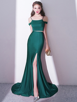 Ericdress Spaghetti Straps Two Pieces Mermaid Evening Dress