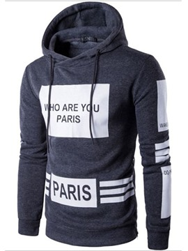 Ericdress Color Block Letter Print Casual Men's Hoodie