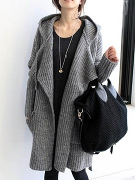 Ericdress Plain Cardigan Hooded Knitwear