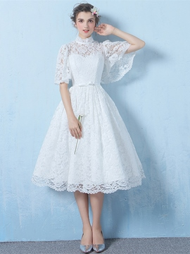 Ericdress A Line Half Sleeve Lace Tea Length Homecoming Dress