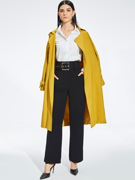 Ericdress Notched Lapel Lantern Sleeve Lace-Up Trench Coat