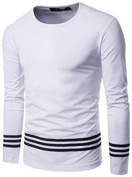 Ericdress Stripe Printed Solid Color Slim Fit Men's Long Sleeve T-Shirt