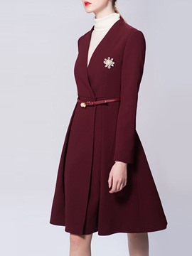 Ericdress Mid-Length Belt Hidden Button Trench Coat