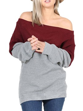 Ericdress Pullover Oblique Collar Color Block Knitwear