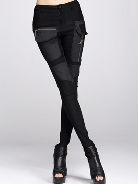 Ericdress patchwork mid-waist leggings hose