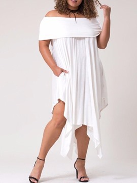 Ericdress Plus Size Short Sleeve Pleated Asymmetrical Plain Dress